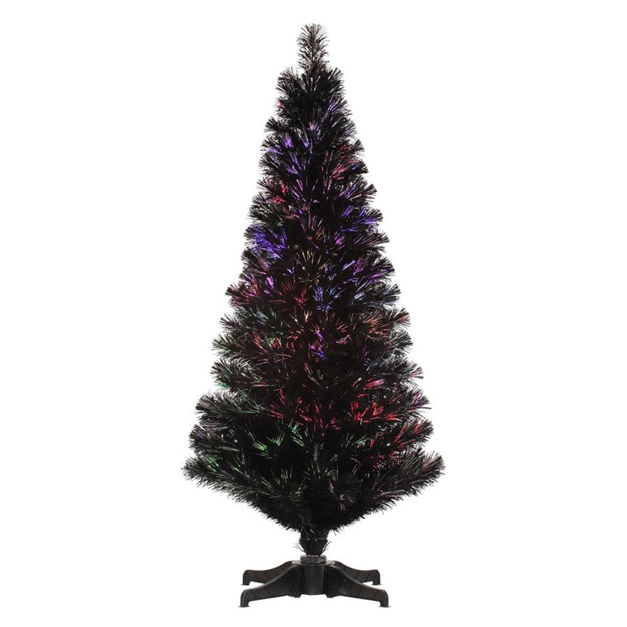 Vickerman 4-ft Pre-Lit Fir Black Artificial Christmas Tree with Multicolor Fiber Optic