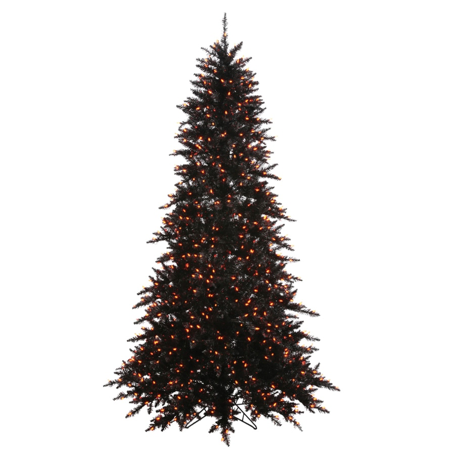 Vickerman 7-ft 6-in Pre-Lit Slim Artificial Christmas Tree with Orange Incandescent Lights
