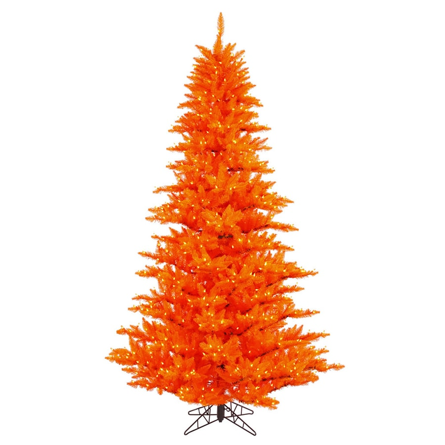 Vickerman 7.5-ft Pre-Lit Whimsical Artificial Christmas Tree with Orange Incandescent Lights