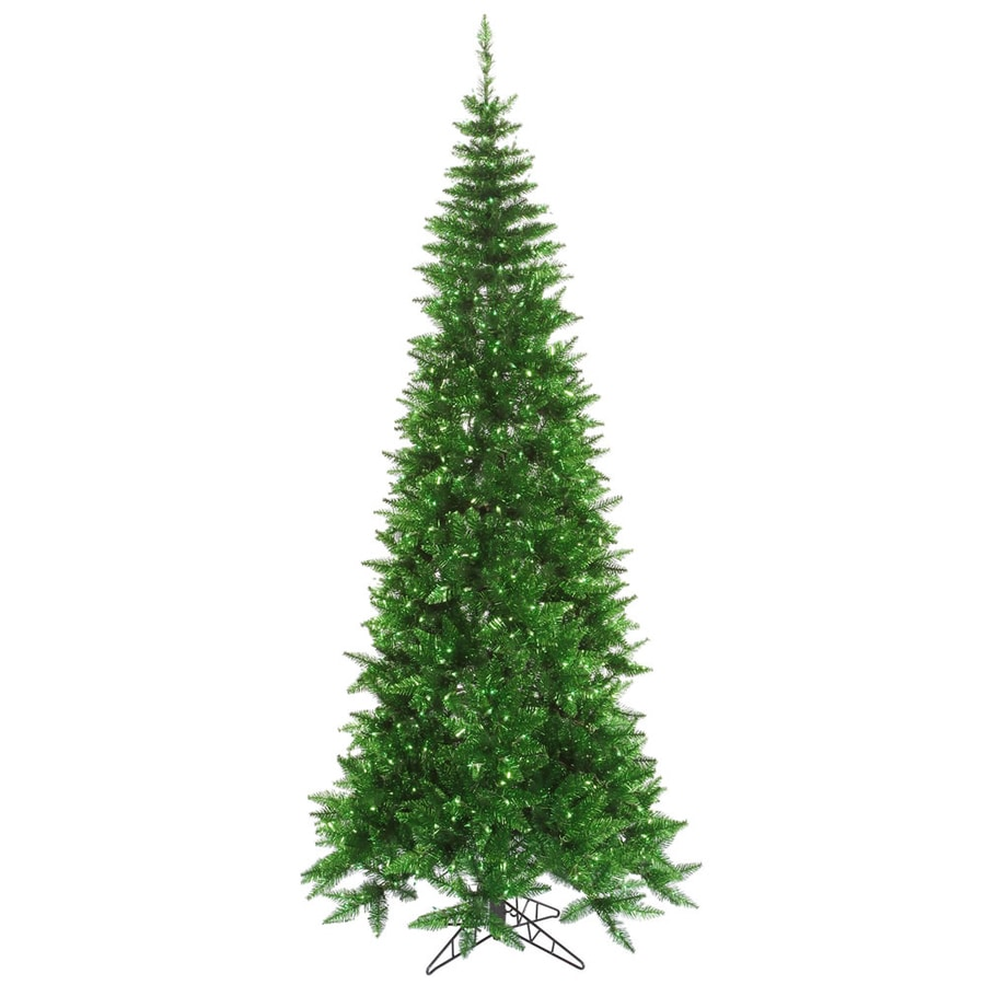 Vickerman 4.5-ft Pre-lit Tinsel Slim Artificial Christmas Tree with 200 Constant Green Incandescent Lights