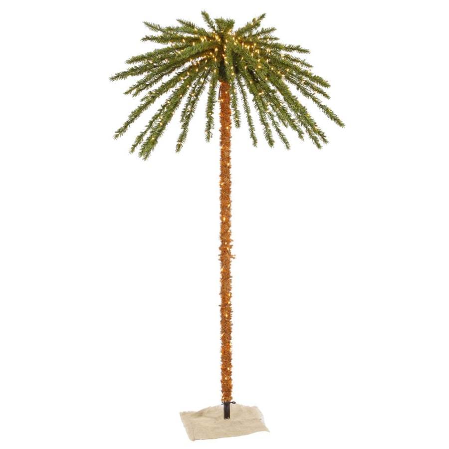 vickerman lighted palm tree freestanding tree outdoor christmas decoration with white incandescent lights - Palm Tree Christmas Decorations
