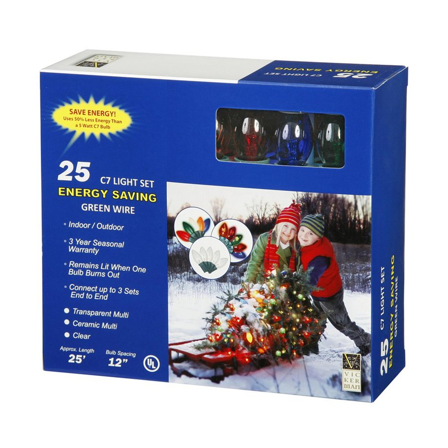vickerman 25 count 25 ft twinkling multicolor c7 plug in outdoor christmas string