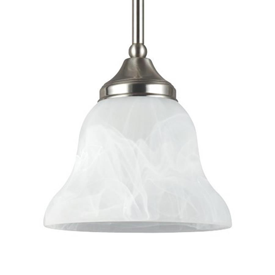 Sea Gull Lighting Brockton 7.25-in Brushed Nickel Mini Alabaster Glass Bell Pendant