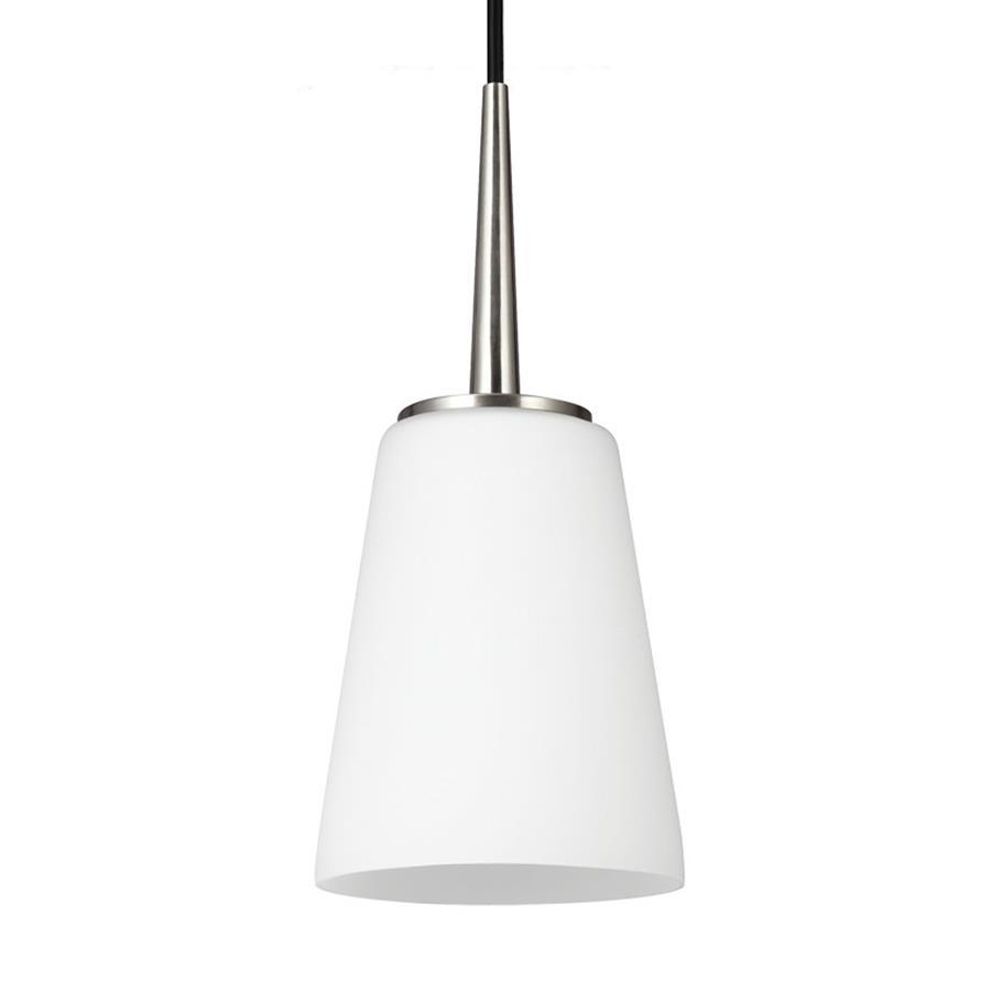Sea Gull Lighting Driscoll 5.25-in Brushed Nickel Mini Etched Glass Cone Pendant