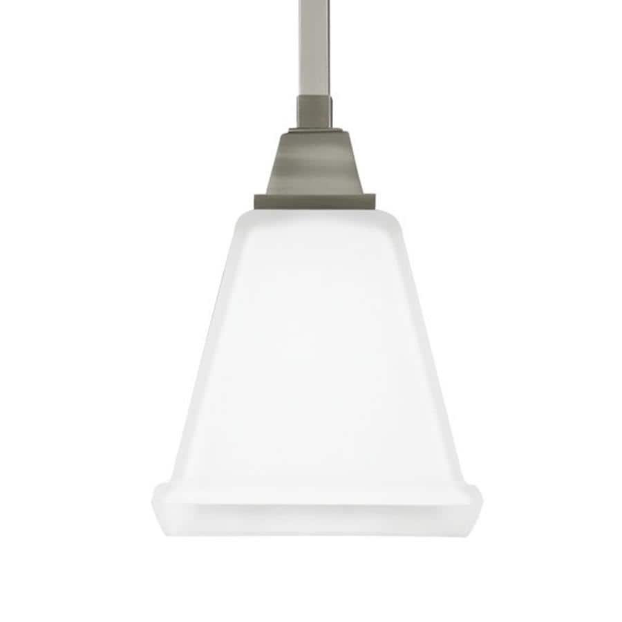 Sea Gull Lighting Denheim 5.75-in Brushed Nickel Craftsman Single Etched Glass Bell Pendant