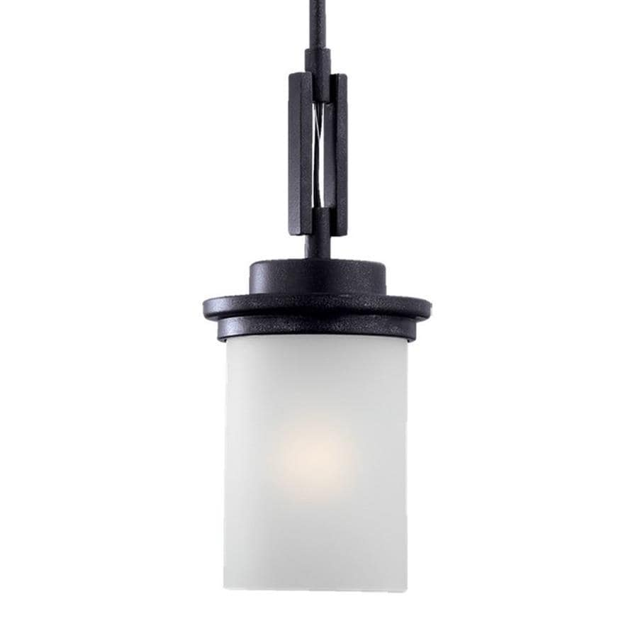 Sea Gull Lighting Winnetka 6.25-in Blacksmith Industrial Mini Etched Glass Cylinder Pendant