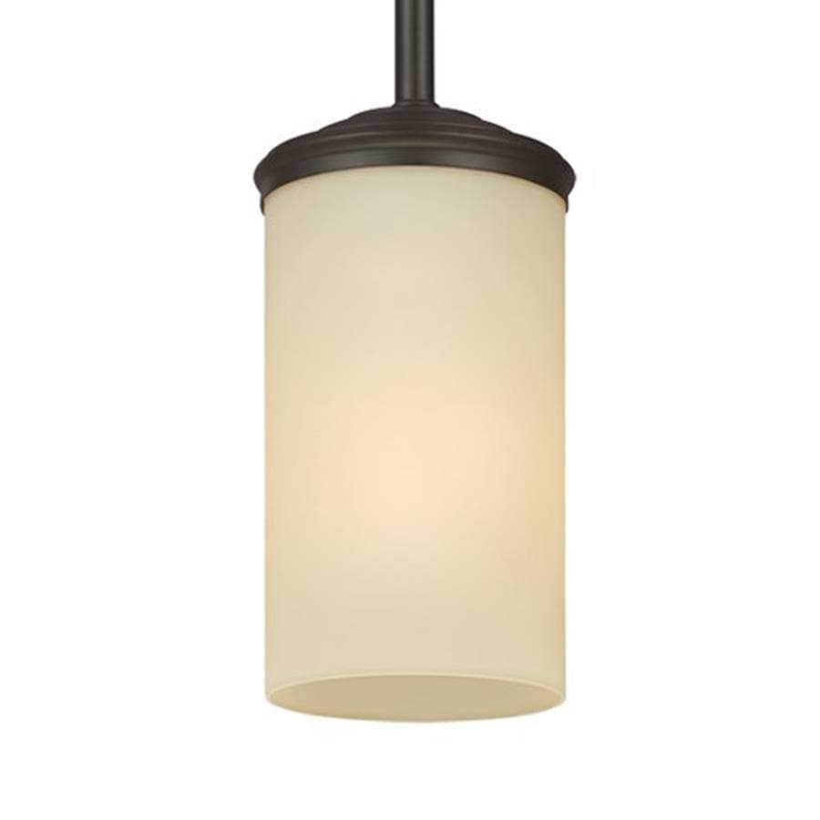 Sea Gull Lighting Sfera 4-in Autumn Bronze Craftsman Mini Tinted Glass Cylinder Pendant
