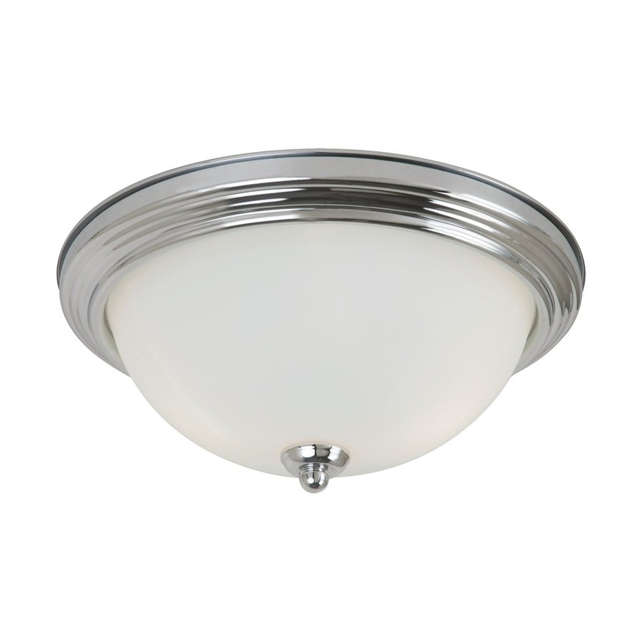 Sea Gull Lighting 13.25-in W Chrome Flush Mount Light