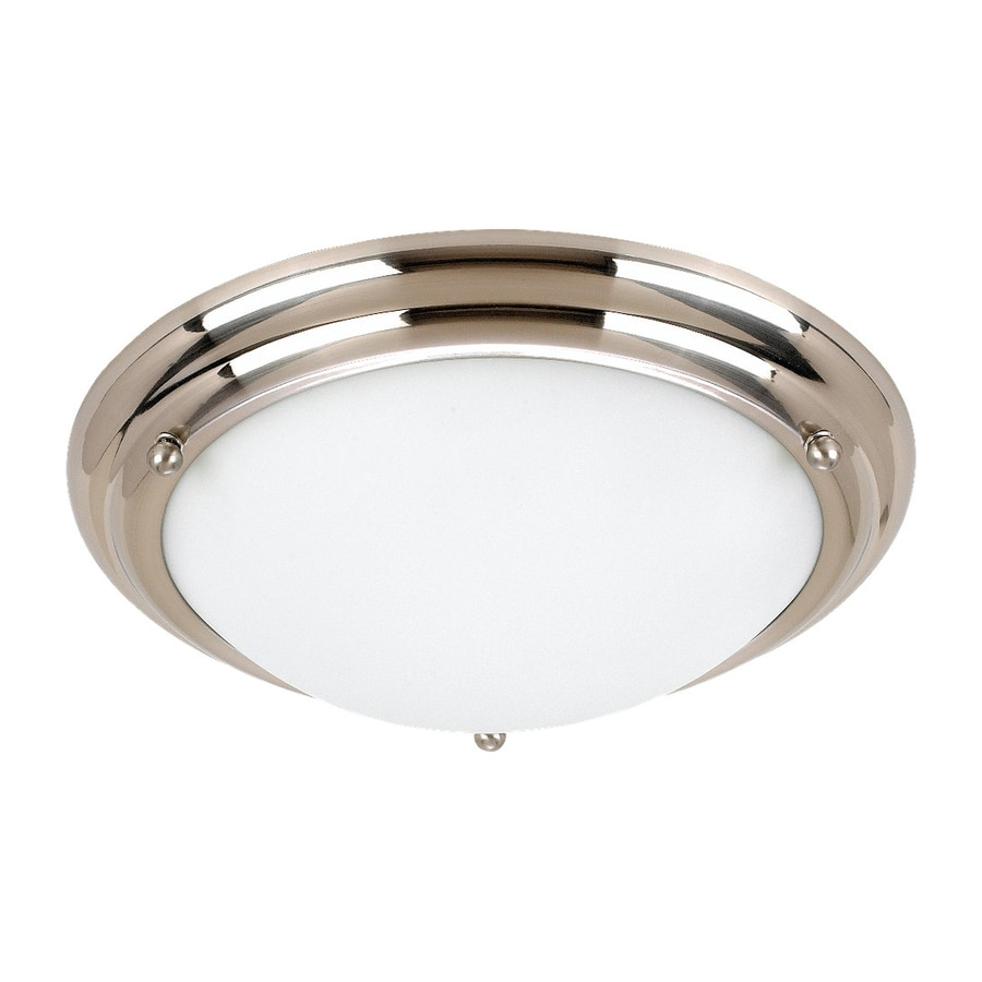 Sea Gull Lighting Centra 15.25-in W Brushed Stainless Flush Mount Light