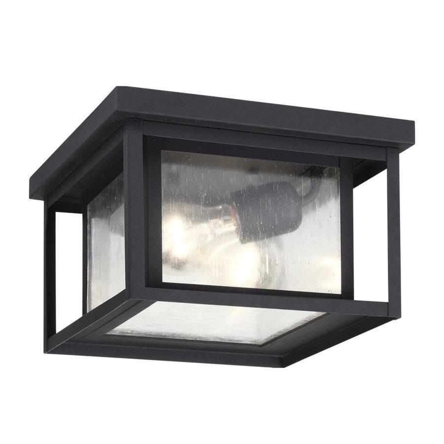 Shop sea gull lighting hunnington 1625 in w black outdoor flush sea gull lighting hunnington 1625 in w black outdoor flush mount light aloadofball Images