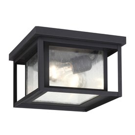 Sea Gull Lighting Hunnington 16 25 In W Black Outdoor Flush Mount Light