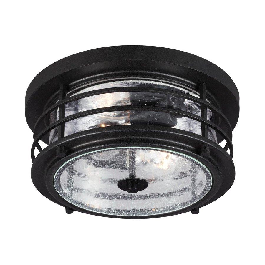 Sea Gull Lighting Sauganash 12.25-in W Black Outdoor Flush-Mount Light ENERGY STAR