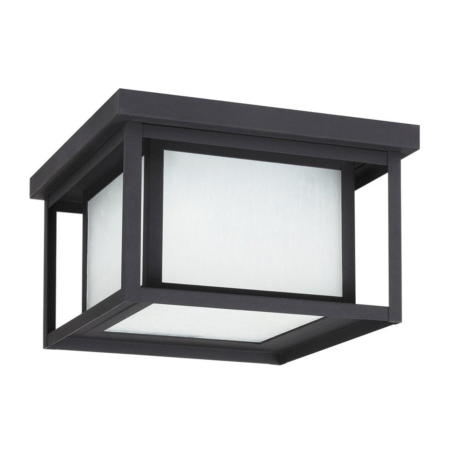 Sea Gull Lighting Hunnington 16.25-in W Black Outdoor Flush-Mount Light ENERGY STAR