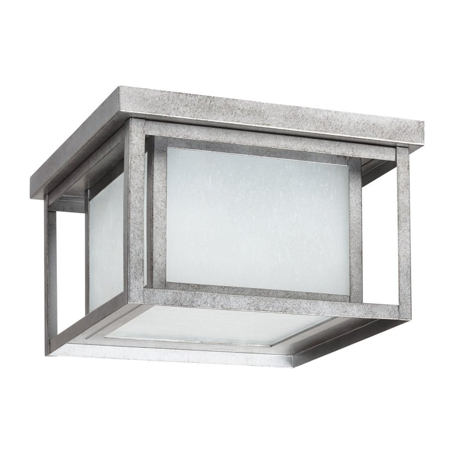 Sea Gull Lighting Hunnington 16.25-in W Weathered Pewter Outdoor Flush-Mount Light ENERGY STAR