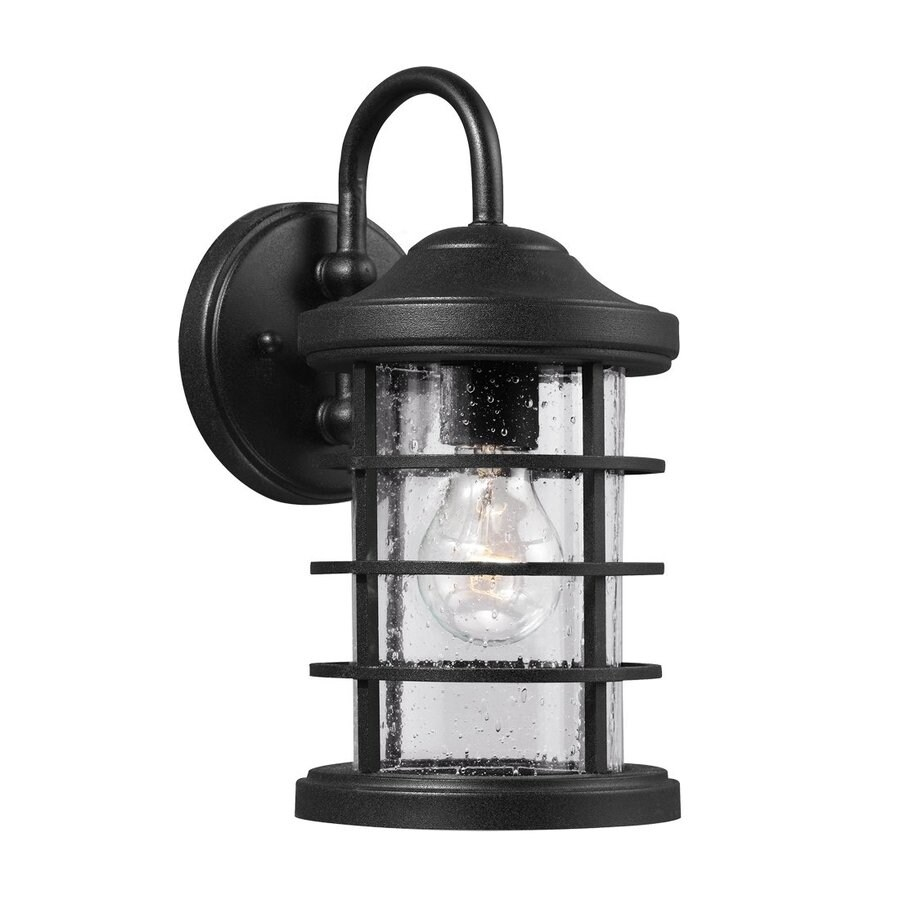 Sea Gull Lighting Sauganash 12.25-in H Black Outdoor Wall Light ENERGY STAR