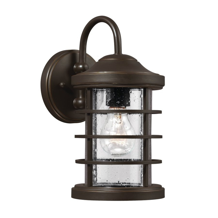 Sea Gull Lighting Sauganash 12.25-in H Antique Bronze Outdoor Wall Light ENERGY STAR