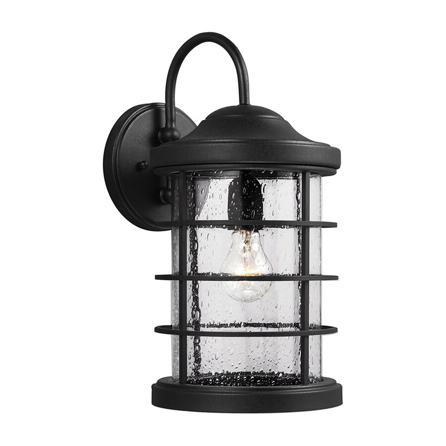 Sea Gull Lighting Sauganash 16.75-in H Black Outdoor Wall Light ENERGY STAR