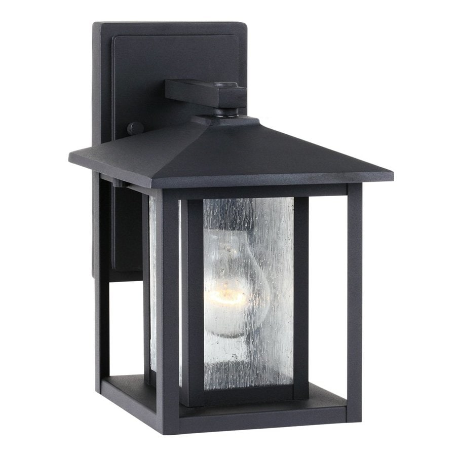 Sea Gull Lighting Hunnington 11-in H Black Outdoor Wall Light