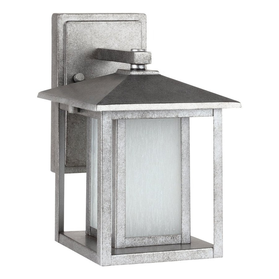 Shop Sea Gull Lighting Hunnington 11-in H Weathered Pewter Outdoor Wall Light ENERGY STAR at ...