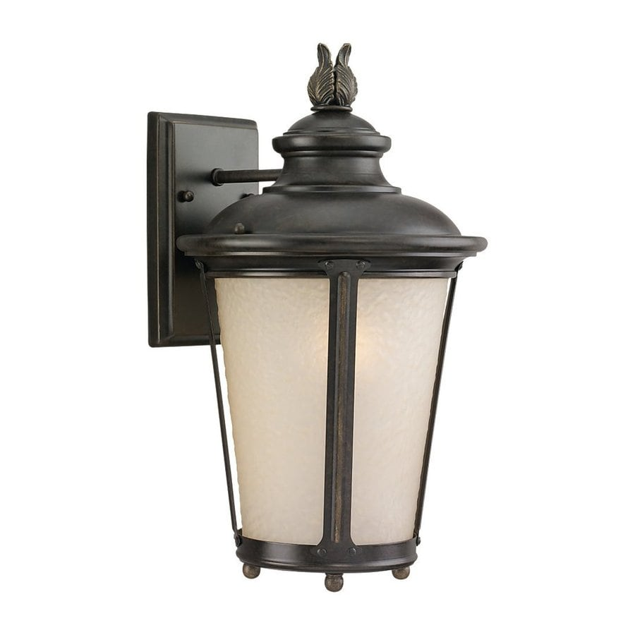 Sea Gull Lighting Cape May 15.5-in H Burled Iron Outdoor Wall Light