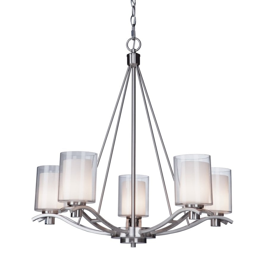 Shop artcraft lighting andover 265 in 5 light polished nickel artcraft lighting andover 265 in 5 light polished nickel shaded chandelier mozeypictures Gallery