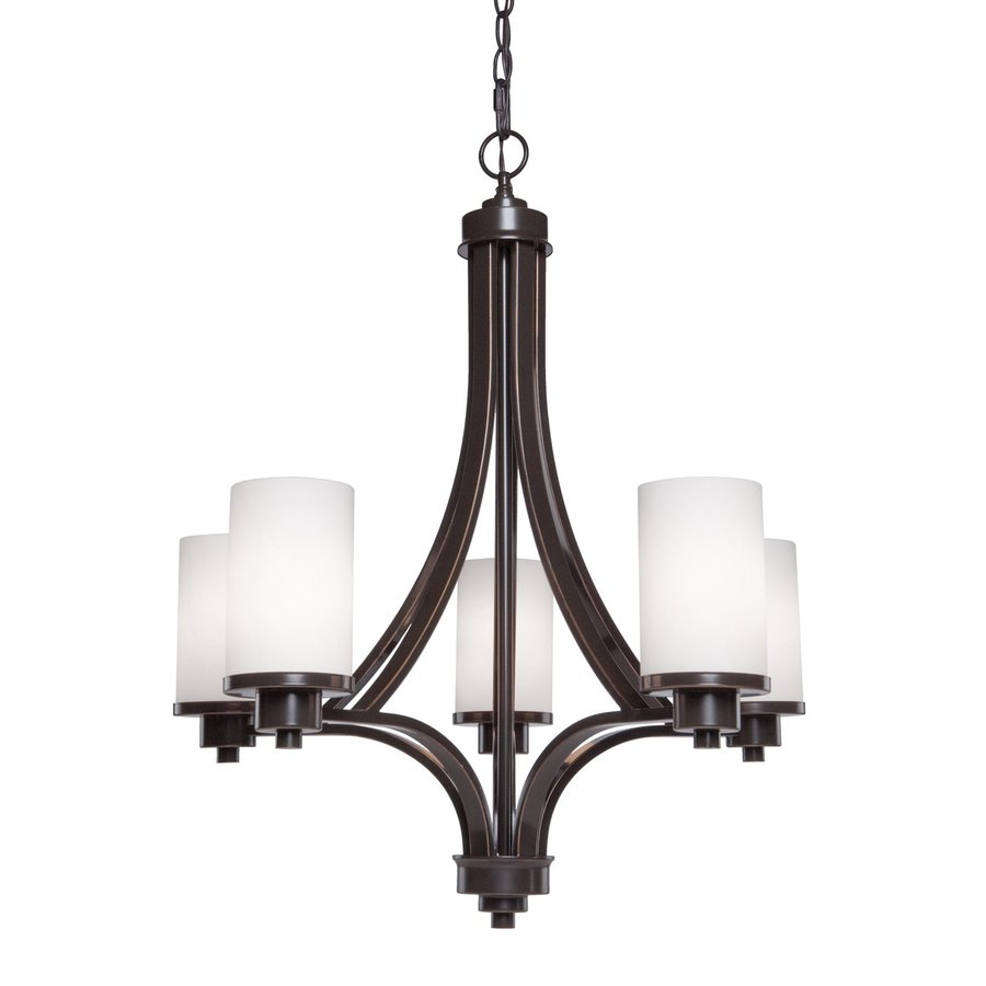 Shop artcraft lighting parkdale 24 in 5 light oil rubbed bronze artcraft lighting parkdale 24 in 5 light oil rubbed bronze shaded chandelier mozeypictures Gallery