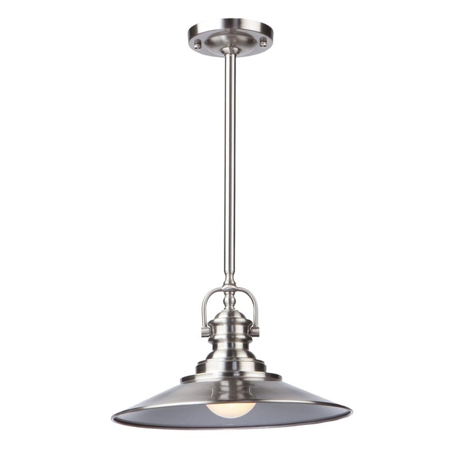 Artcraft Lighting Heath 12-in Satin Nickel Industrial Mini Cone Pendant