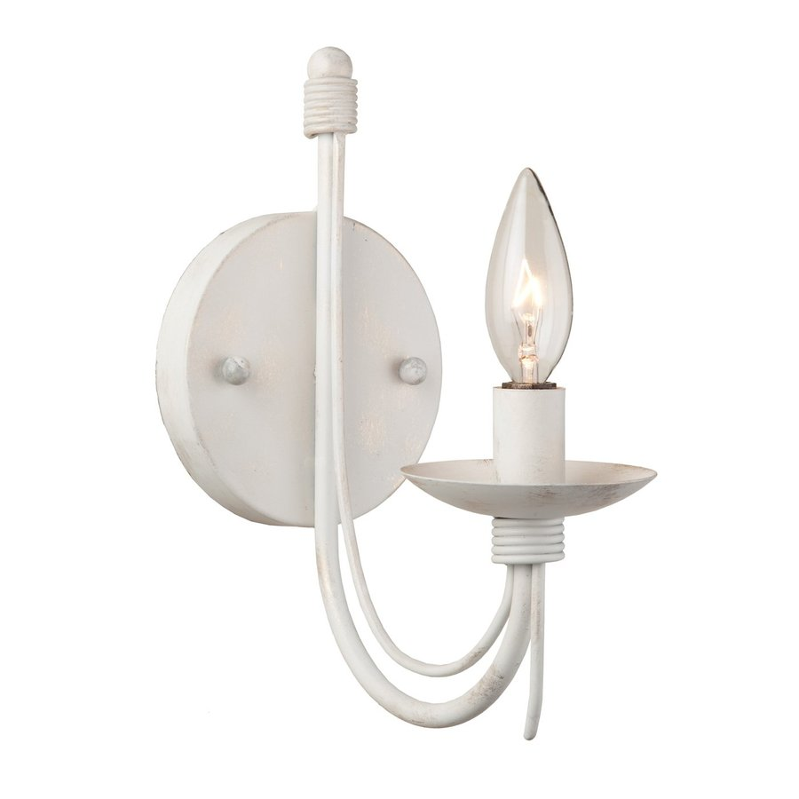 Artcraft Lighting Wrought Iron 5-in W 1-Light Antique White Candle Wall Sconce
