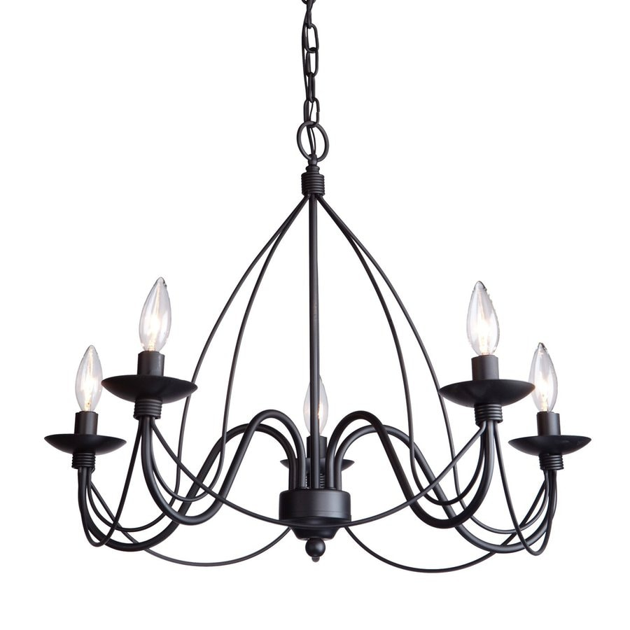 Shop artcraft lighting wrought iron 24 in 5 light ebony black artcraft lighting wrought iron 24 in 5 light ebony black wrought iron candle chandelier mozeypictures