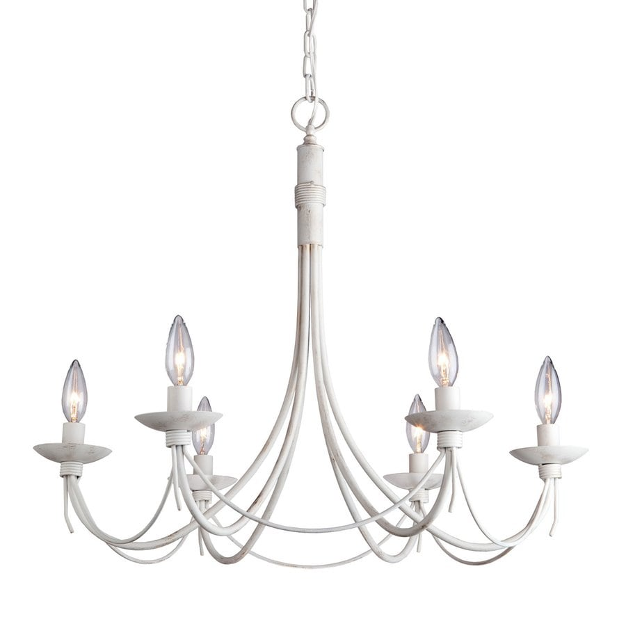 Artcraft Lighting Wrought Iron 26-in 6-Light Antique White Wrought Iron Candle Chandelier