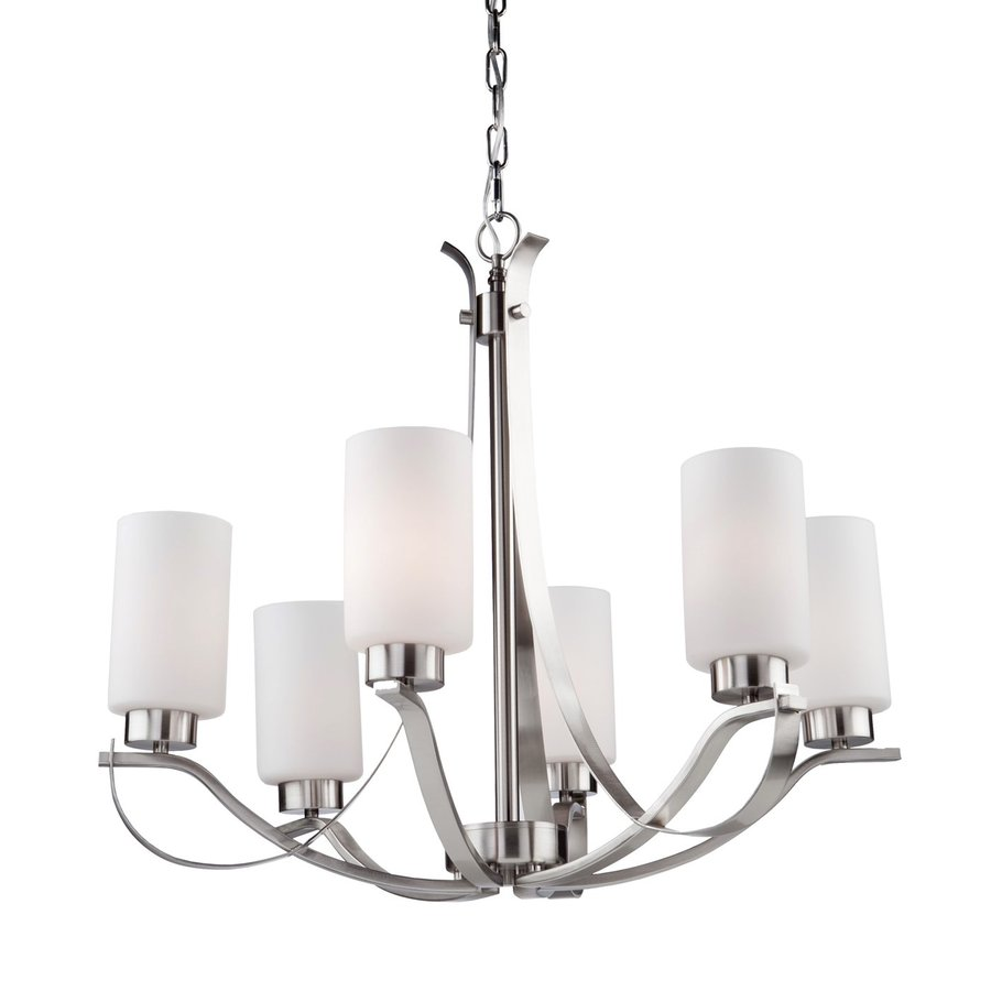Artcraft Lighting Russell Hill 26-in 6-Light Polished Nickel Shaded Chandelier