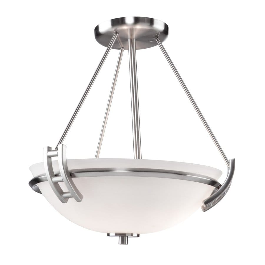 Artcraft Lighting Andover 13-in W Polished nickel Frosted Glass Semi-Flush Mount Light