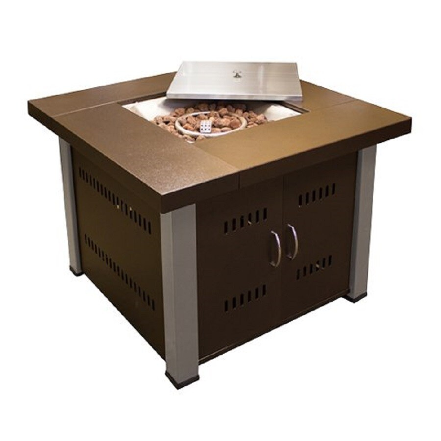 AZ  Patio 38-in W 40000-BTU Hammered Bronze Stainless Steel Liquid Propane Fire Table