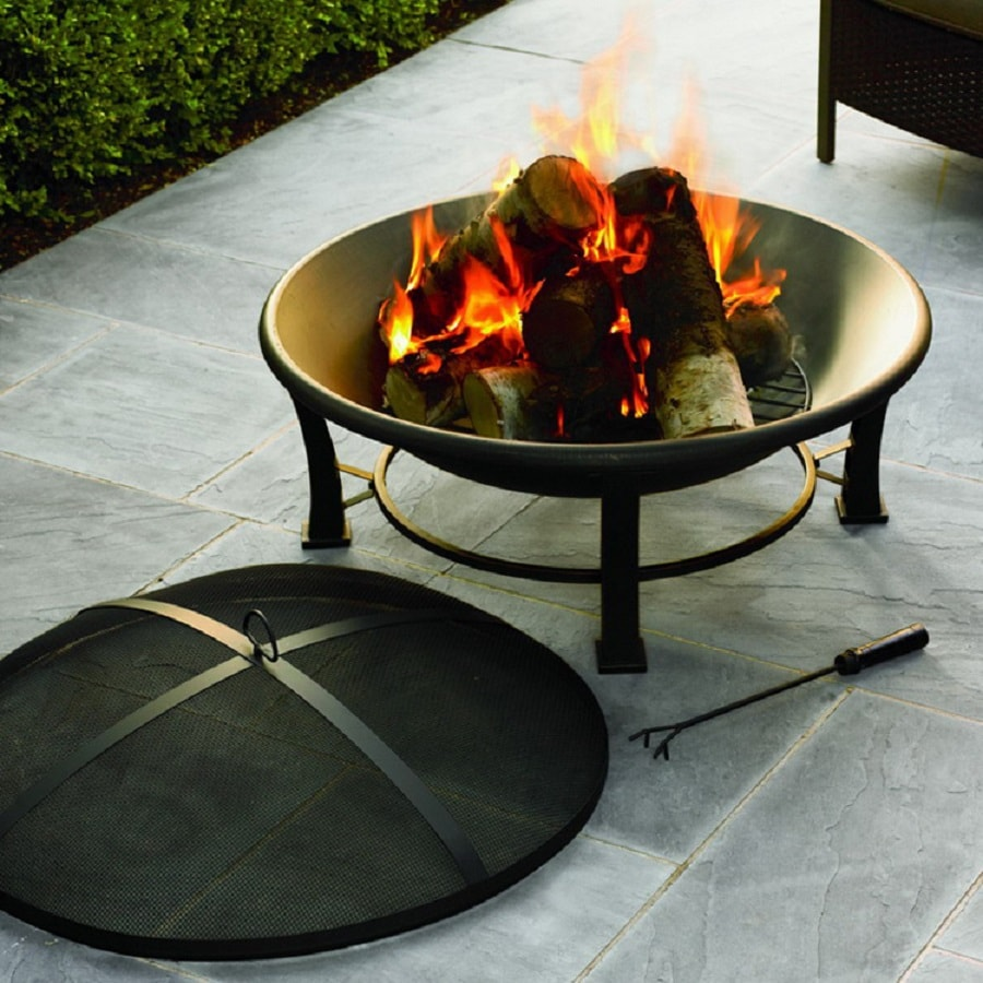Jeco 35-in W Black/Gold Steel Wood-Burning Fire Pit