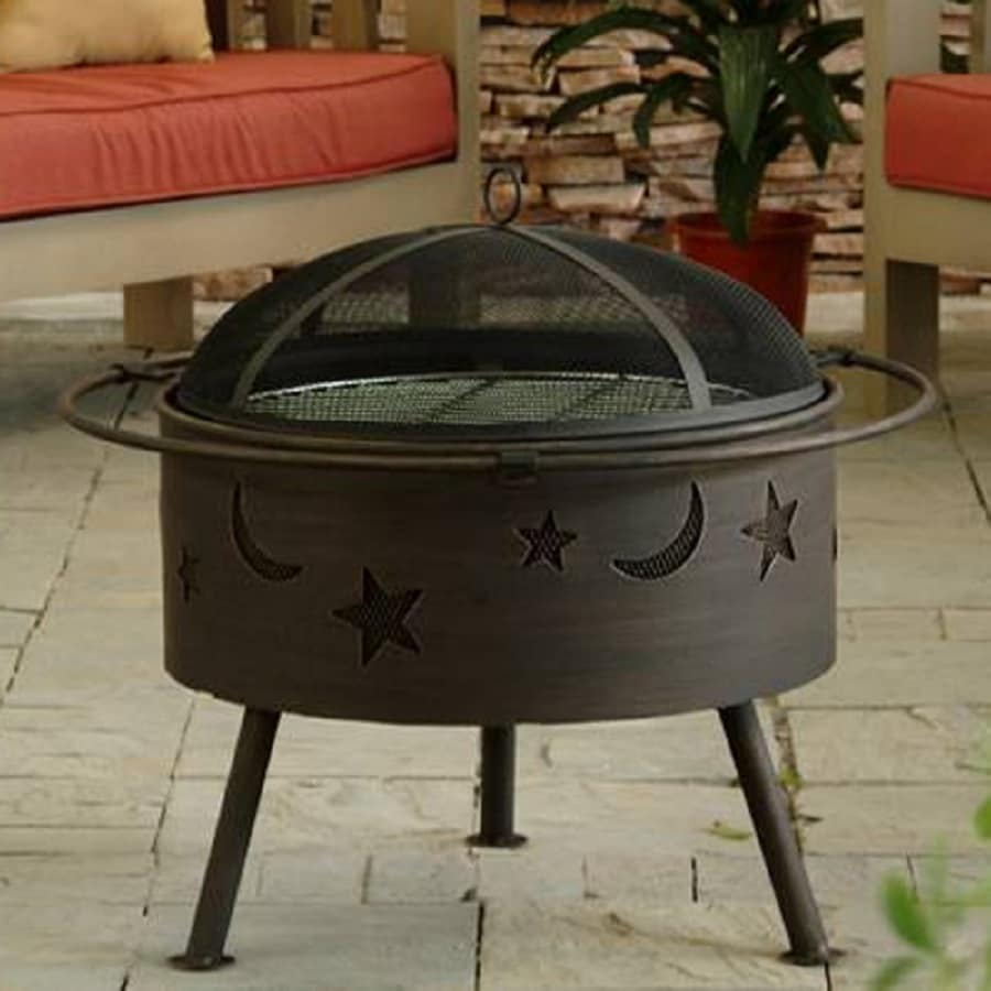 Jeco 32-in W Black/Gold Steel Wood-Burning Fire Pit