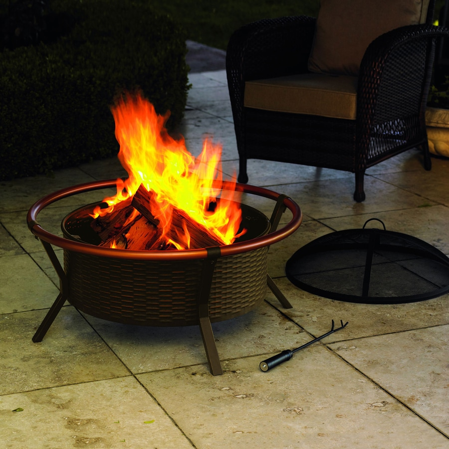 Jeco 34.25-in W Black/Copper Steel Wood-Burning Fire Pit