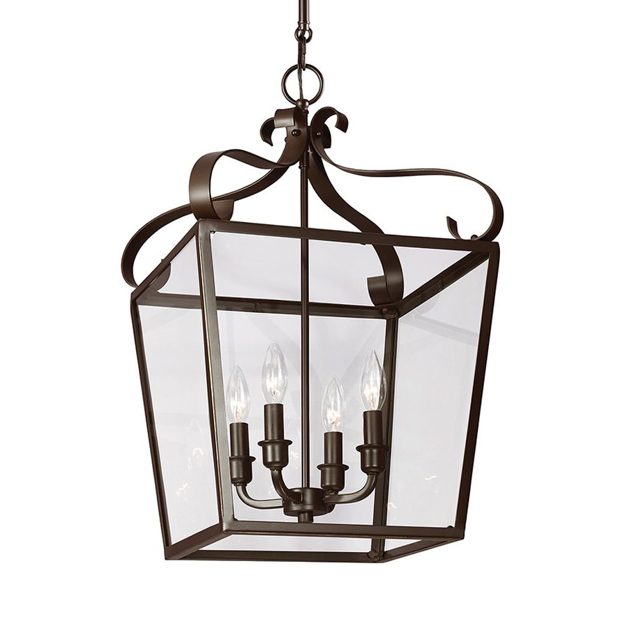 Sea Gull Lighting Lockheart 13.75-in Heirloom Bronze Wrought Iron Single Clear Glass Lantern Pendant
