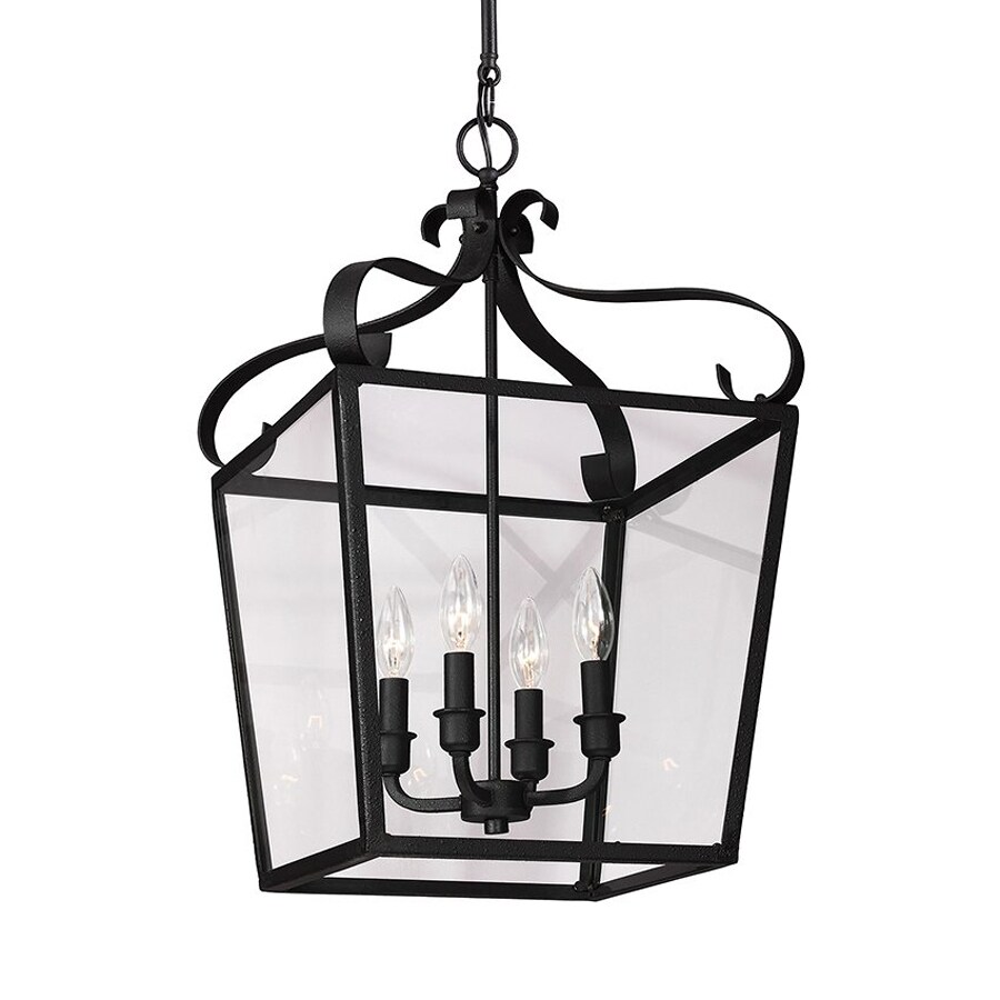 Sea Gull Lighting Lockheart 13.75-in Blacksmith Wrought Iron Single Clear Glass Lantern Pendant