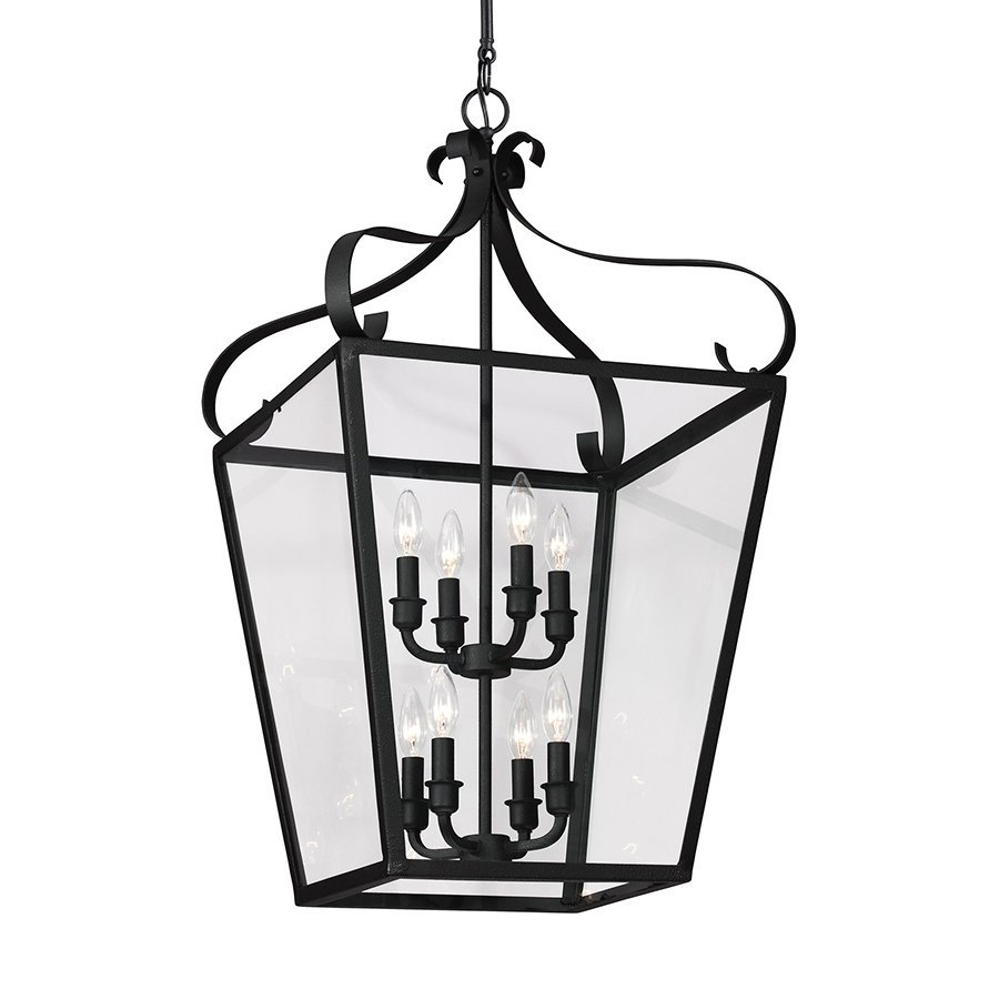 Sea Gull Lighting Lockheart 18-in Blacksmith Wrought Iron Single Clear Glass Lantern Pendant