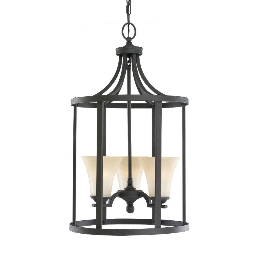 Sea Gull Lighting Somerton 16-in Blacksmith Wrought Iron Single Tinted Glass Lantern Pendant