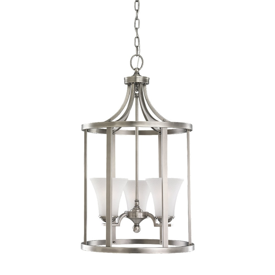 Sea Gull Lighting Somerton 16-in Antique Brushed Nickel Vintage Single Etched Glass Lantern Pendant