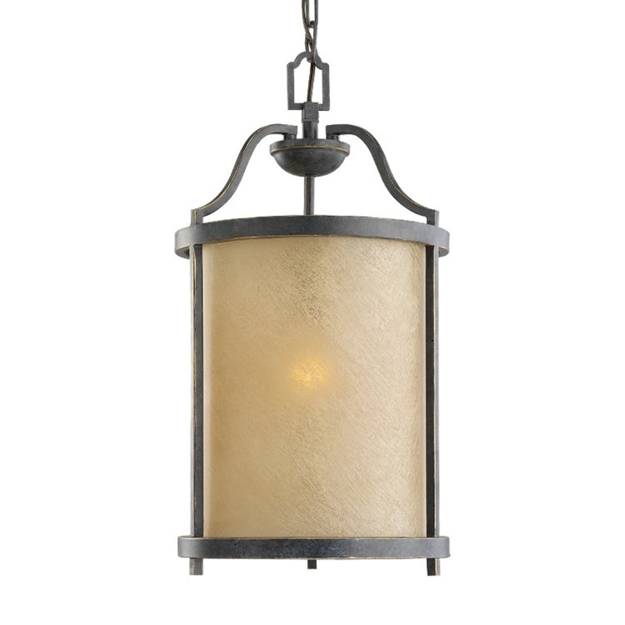 Sea Gull Lighting Roslyn 10.75-in Flemish Bronze Mediterranean Single Tinted Glass Cylinder Pendant