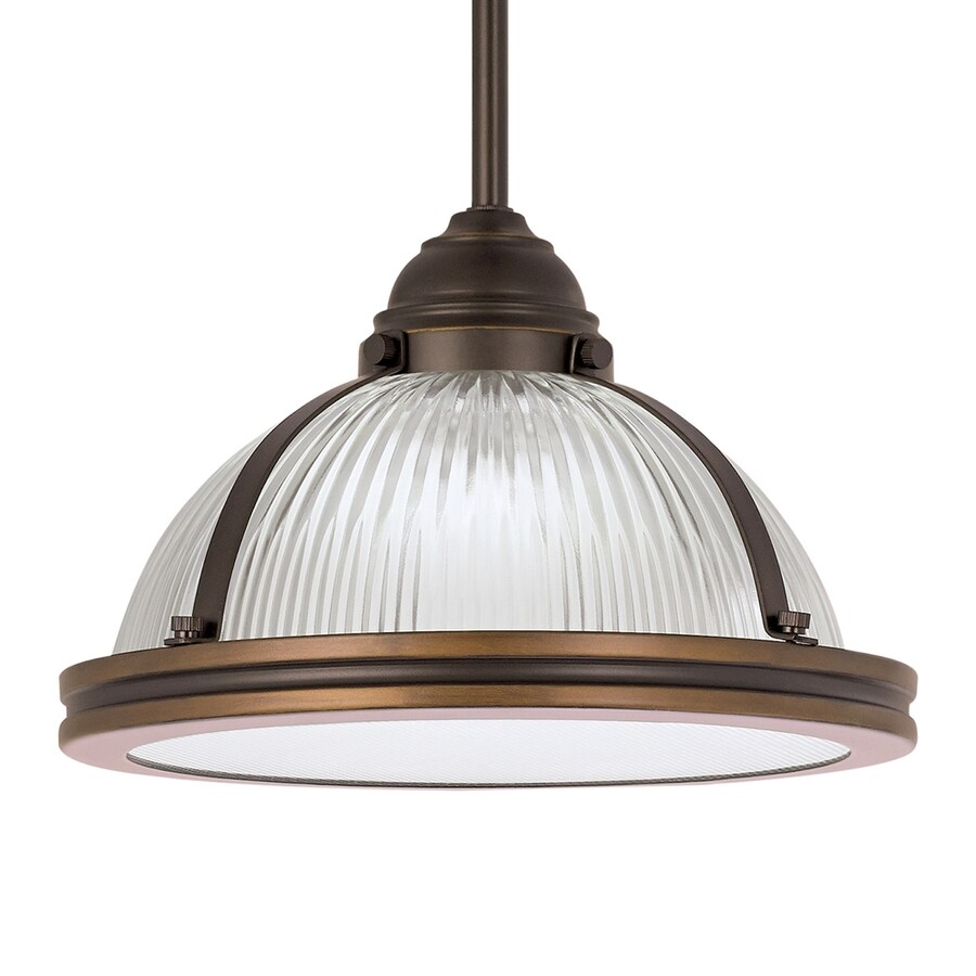 Sea Gull Lighting Pratt Street 11-in Autumn Bronze Industrial Single Ribbed Glass Warehouse Pendant