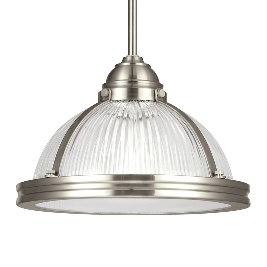 Sea Gull Lighting Pratt Street 11-in Brushed Nickel Industrial Single Ribbed Glass Warehouse Pendant