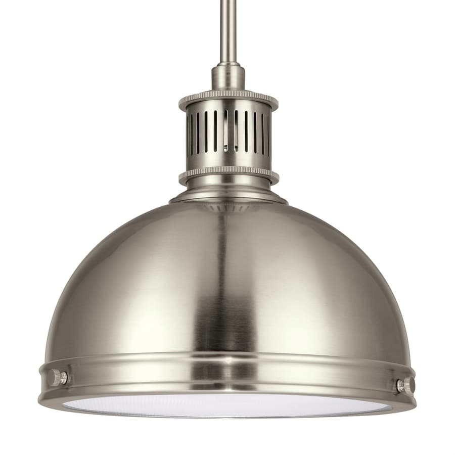 Sea Gull Lighting Pratt Street 9.5-in Brushed Nickel Barn Mini Textured Glass Warehouse Pendant