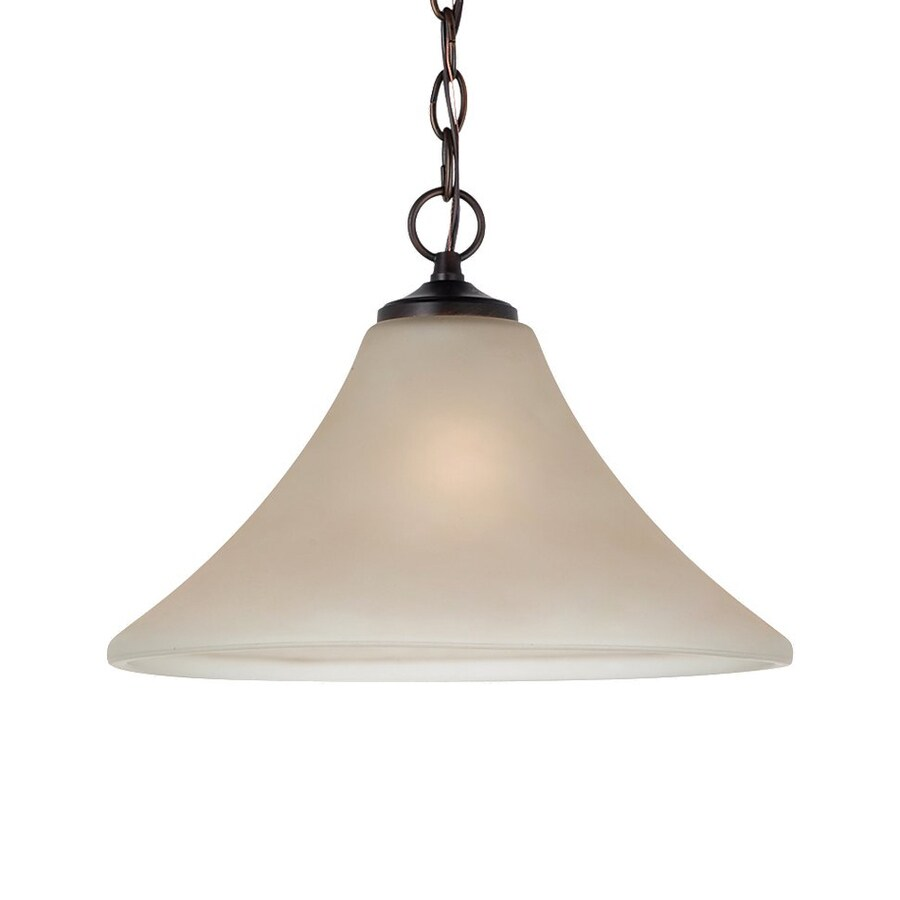 Sea Gull Lighting Montreal 14-in Burnt Sienna Single Etched Glass Bell Pendant