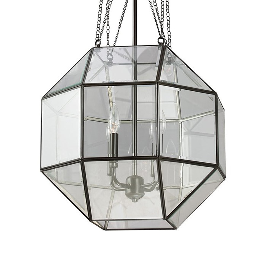 Sea Gull Lighting Lazlo 18.25-in Heirloom Bronze Vintage Single Clear Glass Geometric Pendant