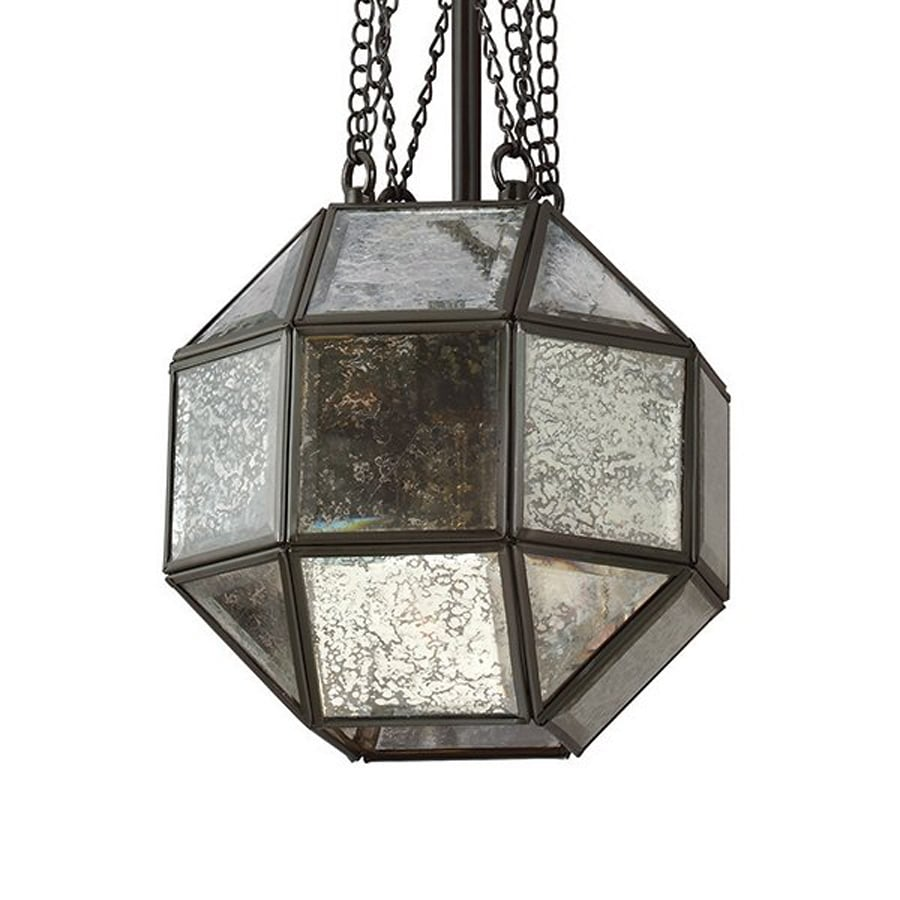 Sea Gull Lighting Lazlo 8-in Heirloom Bronze Vintage Mini Mercury Glass Geometric Pendant