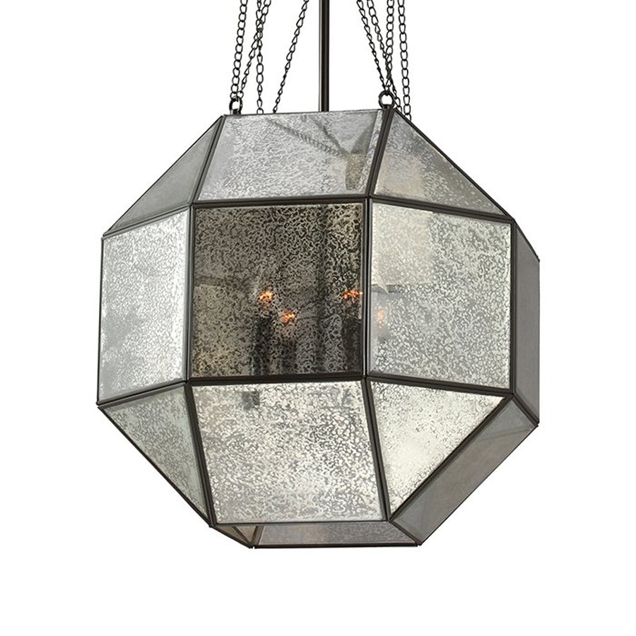 Sea Gull Lighting Lazlo 18.25-in Heirloom Bronze Vintage Single Mercury Glass Geometric Pendant