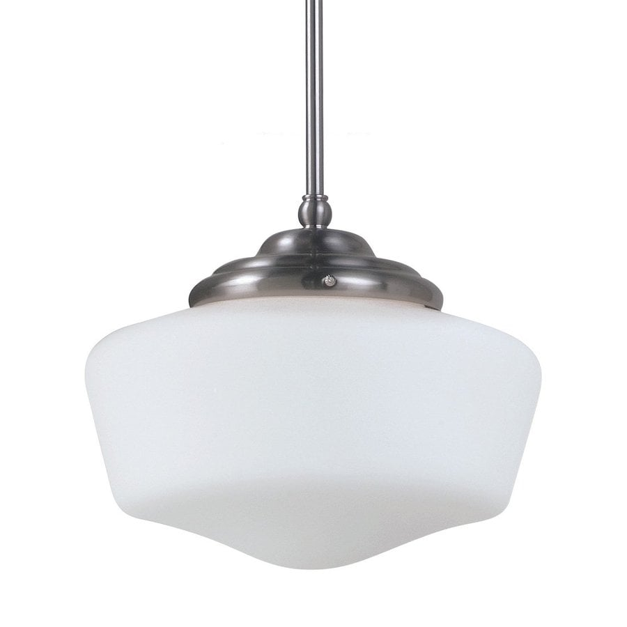 Sea Gull Lighting Academy 13-in Brushed Nickel Vintage Single Etched Glass Schoolhouse Pendant